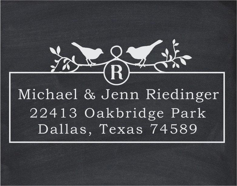 Your Custom Wood Handle Address or Wedding Stamp - cute wedding or christmas gift-Two Birds Monogram -1043