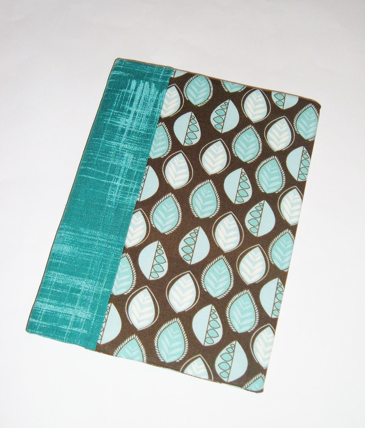 Journal - Fabric Covered  Notebook - Diary - Teal Leaves on Dark Brown - Back to School - pasqueflower
