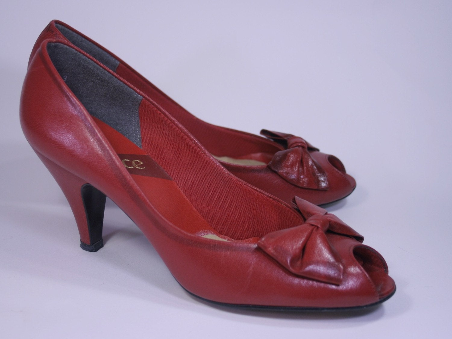 Vintage Cherry Red Peep Toe with Bow Betty Boop Pin Up Leather High Heels, Womens 7