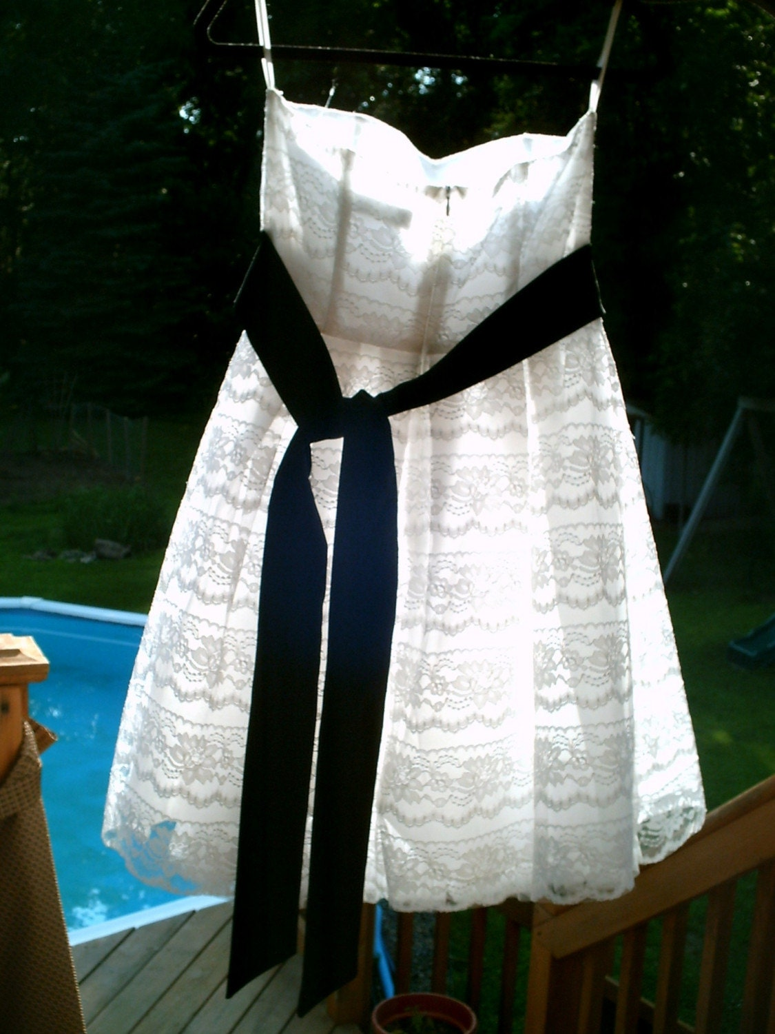 RESERVED FOR BELINDA       Early 1990s 0r Vintage 80s White Lace Strapless Boned Formal Dress with Black Satin Sash