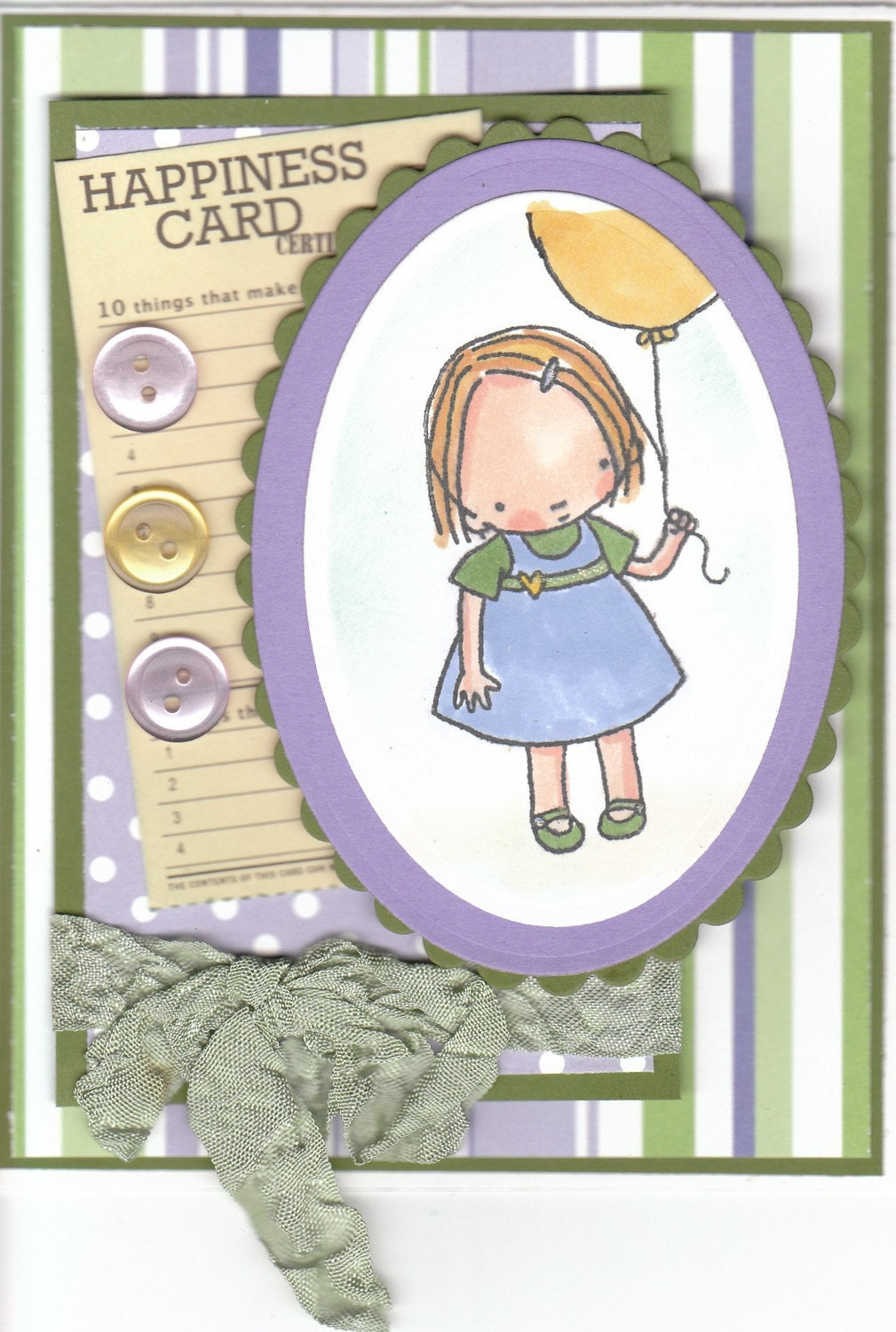HAPPY BIRTHDAY WISHES FROM SWEET INNOCENCE BALLOON GIRL HANDMADE CARD