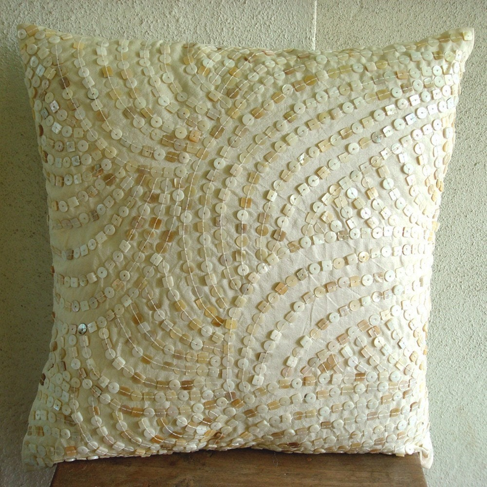 Pearl Obsession - Throw Pillow Covers - 16x16 Inches Ivory Silk Pillow Cover with Mother of Pearl