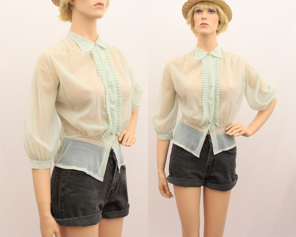 Vintage D'LORA FRANK Sheer Seafoam Green Button Up Shirt - size small