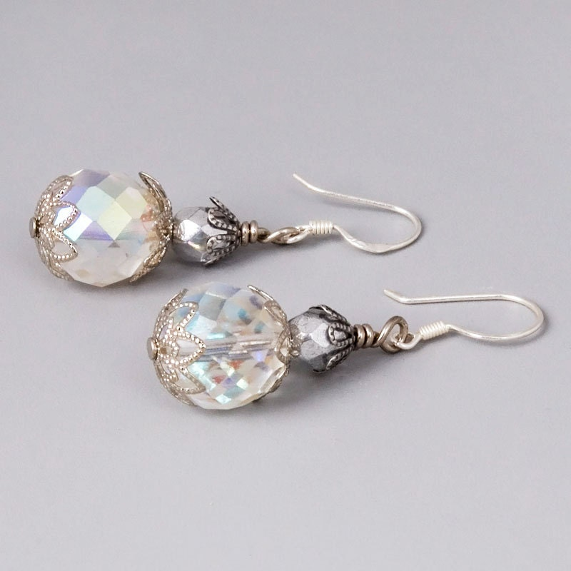 Disco Balls Earrings - Sterling Silver with Fire Polished Glass Crystals