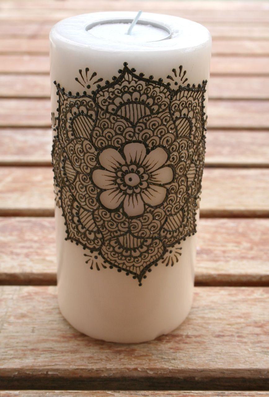 Mehndi For Candles : Henna mandala candle by redwoodhenna on etsy