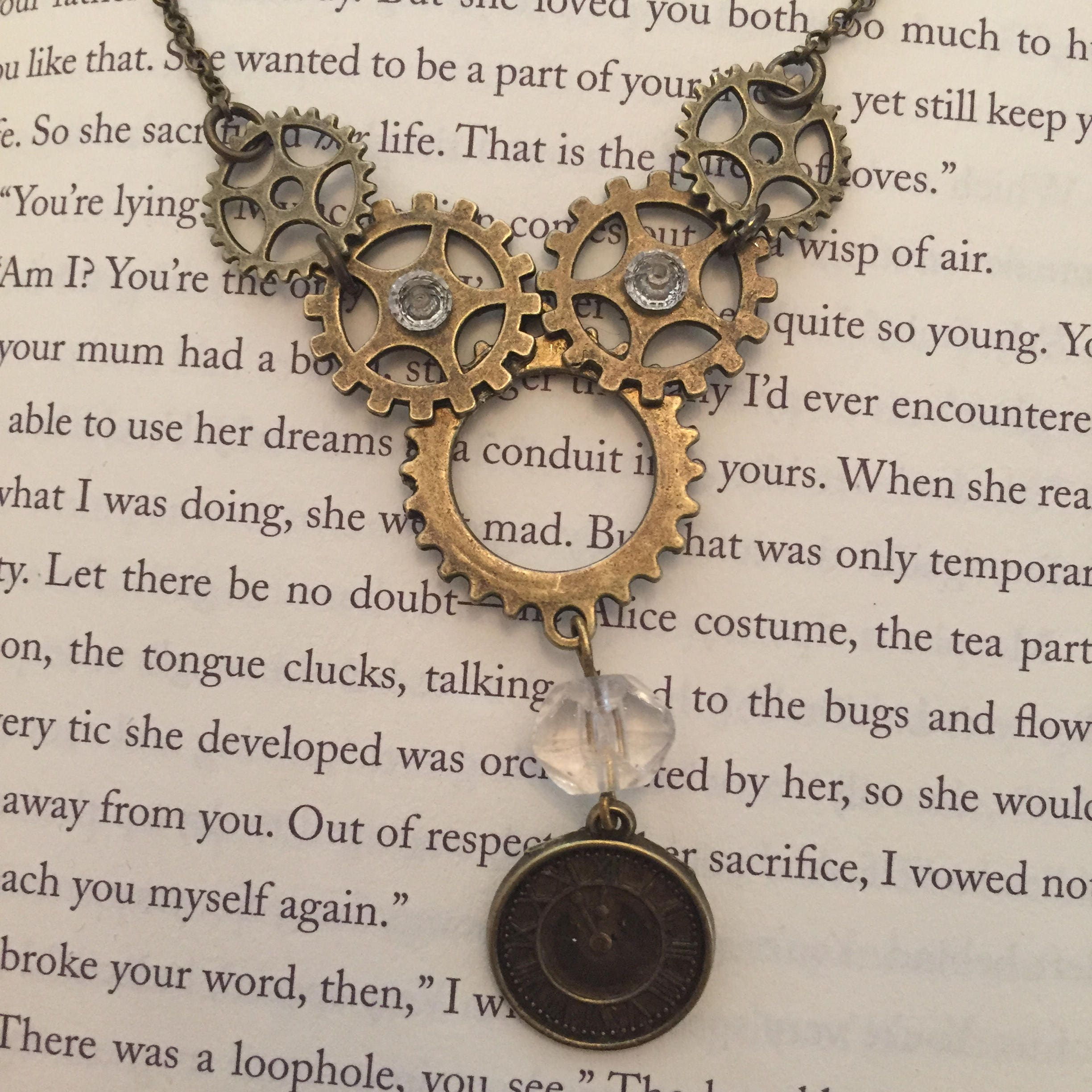 Handmade Steampunk Bib Necklace with crystal clock pendant and cogs