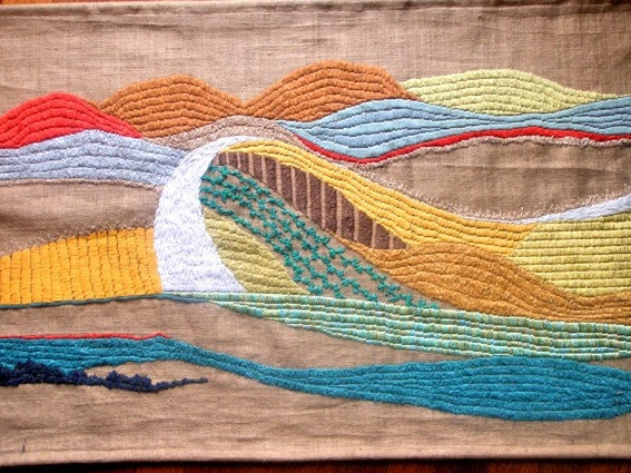 tapestry handmade embroidery landscape Tuscany WHITE STREET fiber art