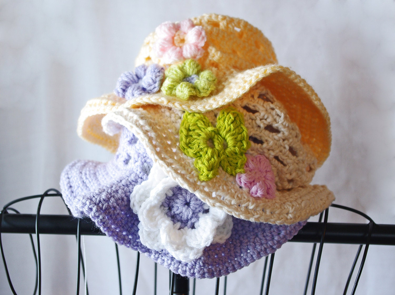 Easter Hat - Toddler And Childs Crochet Sunhat - Pick Your Color - Spring Hat - Acrylic Or Cotton - Crochettess