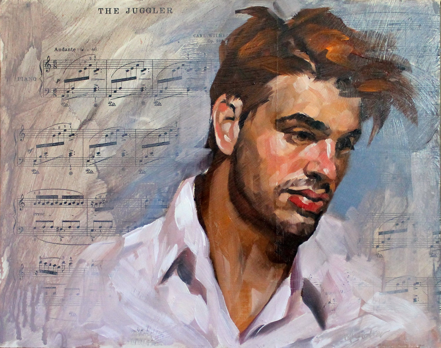 "Barry de Treasure 11""x14"" oilpaint and sheet music on masonite panel by Kenney Mencher"