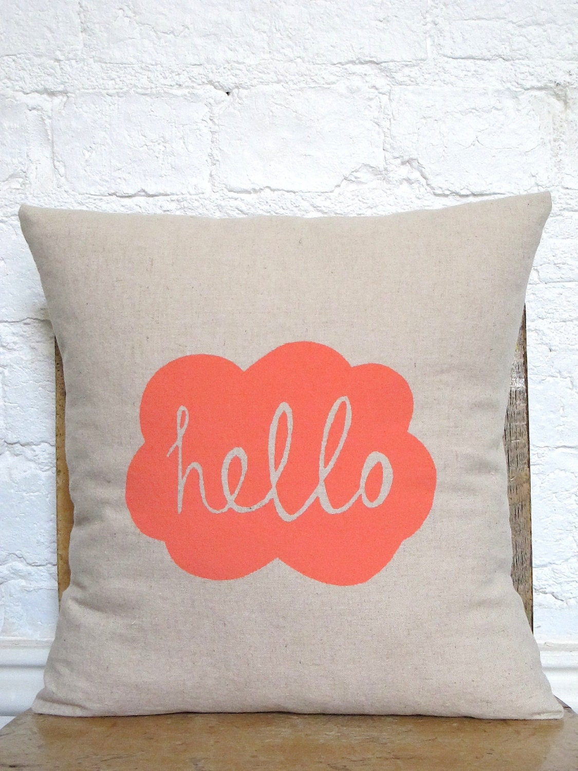 Hand Printed Hello Cushion Cover - Peachy