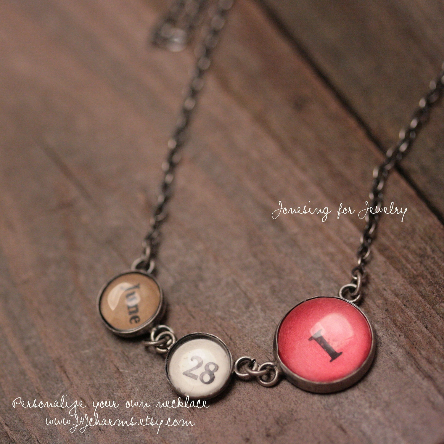 Mothers Personalized Charm Necklace - 1 Monogram, Dates, Linked, Without Beads