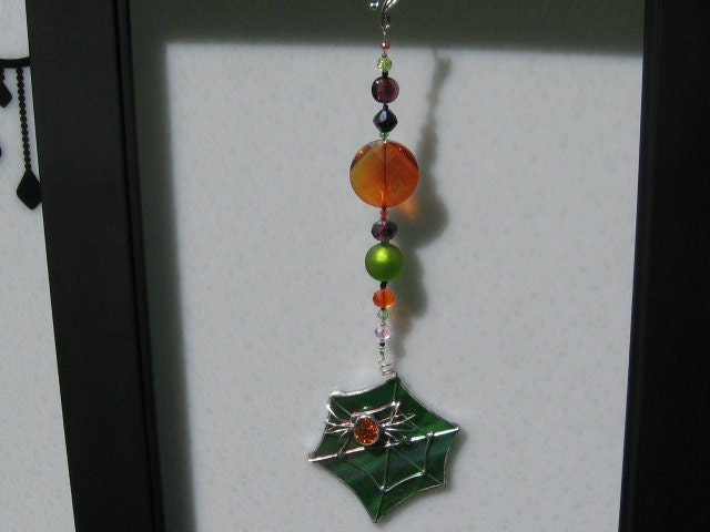 Green Halloween Stained Glass Spider Web with Orange Spider Window ...