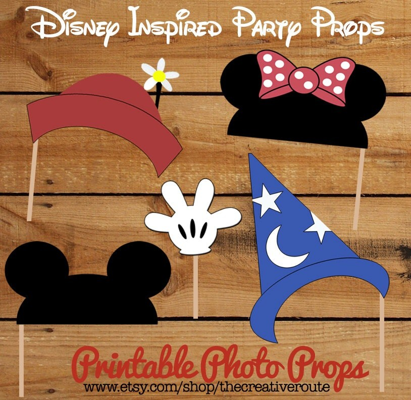 Disney photo props printable large 4 page pdf diy mickey and minnie
