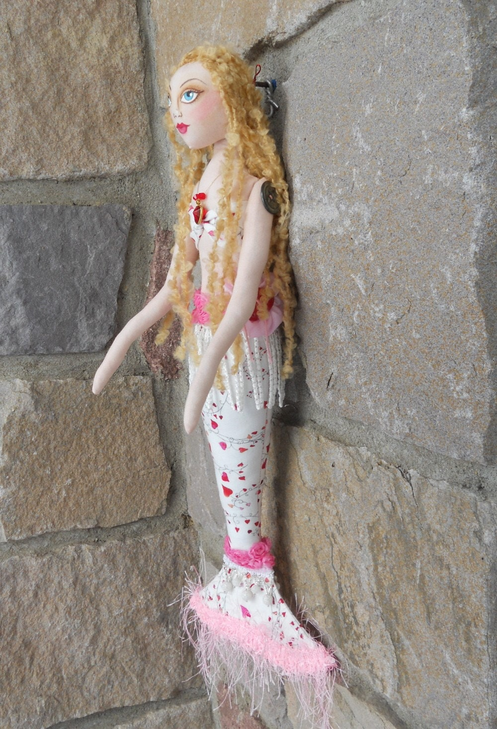 Original Blond Romantic Mermaid Art Doll ADO EbSq MhA OOAK