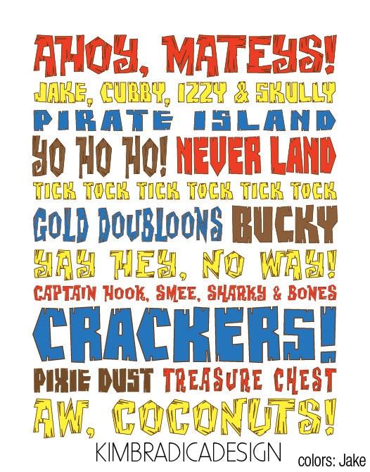 Jake & The Neverland Pirates Subway Art 11x14 by ...