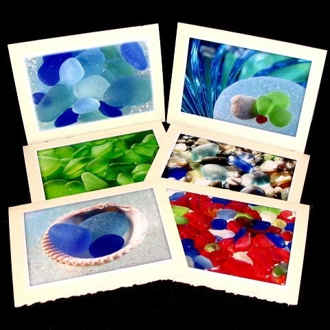 Sea Glass Photo Cards. Blank Cards. Greeting Cards. beach glass photo cards