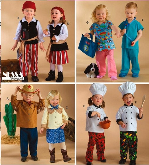 baby toddler halloween costume pattern pirate chef cowboy cowgirl doctor nurse simplicity 3650 - Halloween Costumes For Boy And Girl