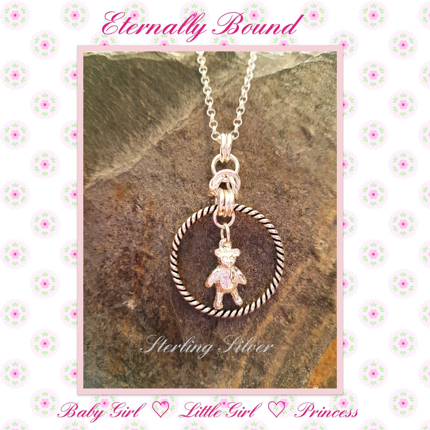 BDSM Sterling Silver Discreet Day Collar  necklace. Rope style O Ring and Teddy Charm DDLG Baby Girl Little Girl PrincessSubmissive