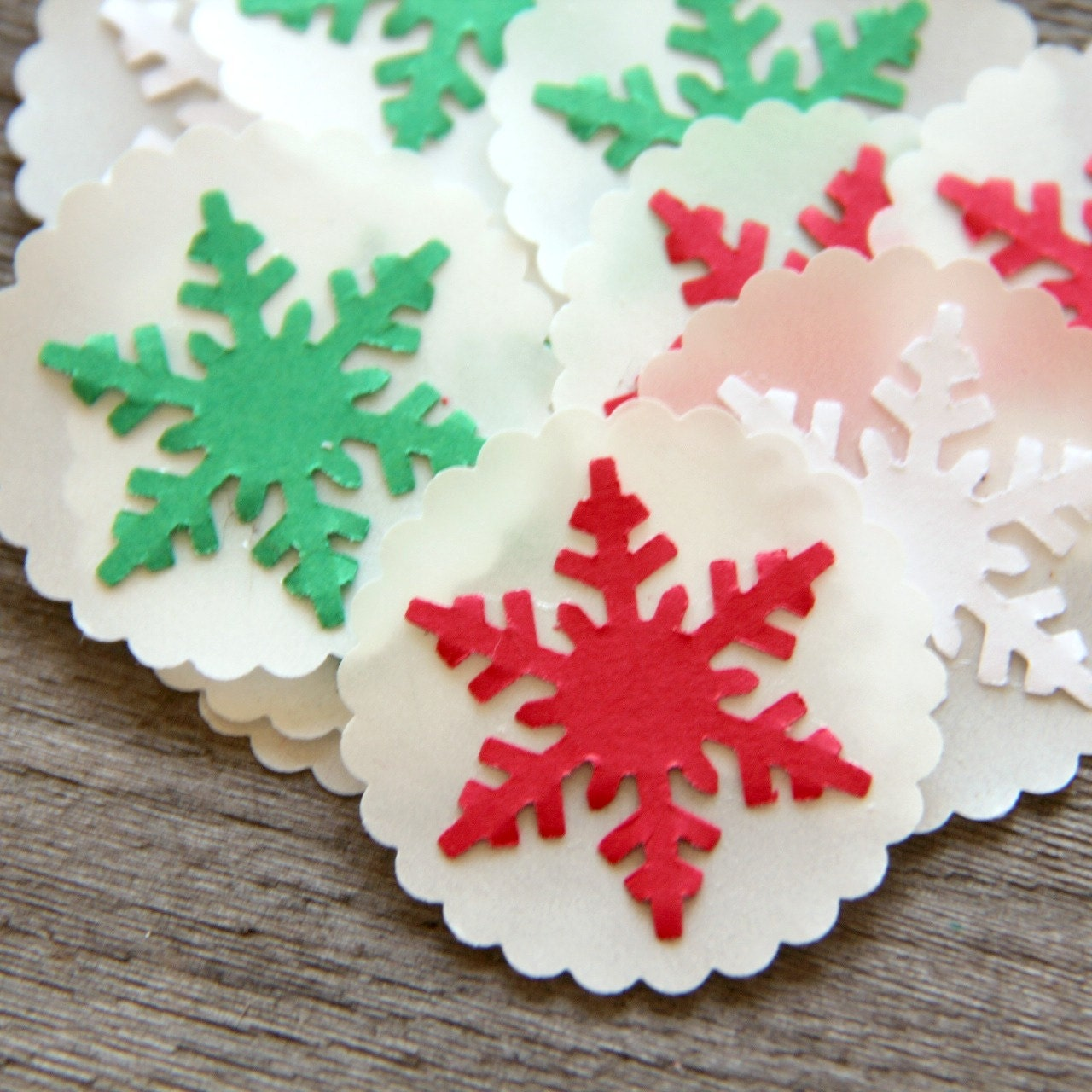Snowflake Sticker Seals Envelope Seals Classic Christmas (15)