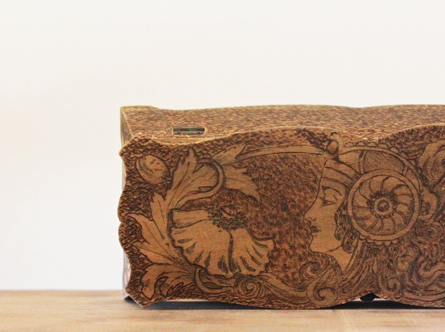 Burned - Antique 1910 Pyrographic Box - Pyrography - Brown - Vintage Home Decor - Wood Burning - Fine Art - becaruns