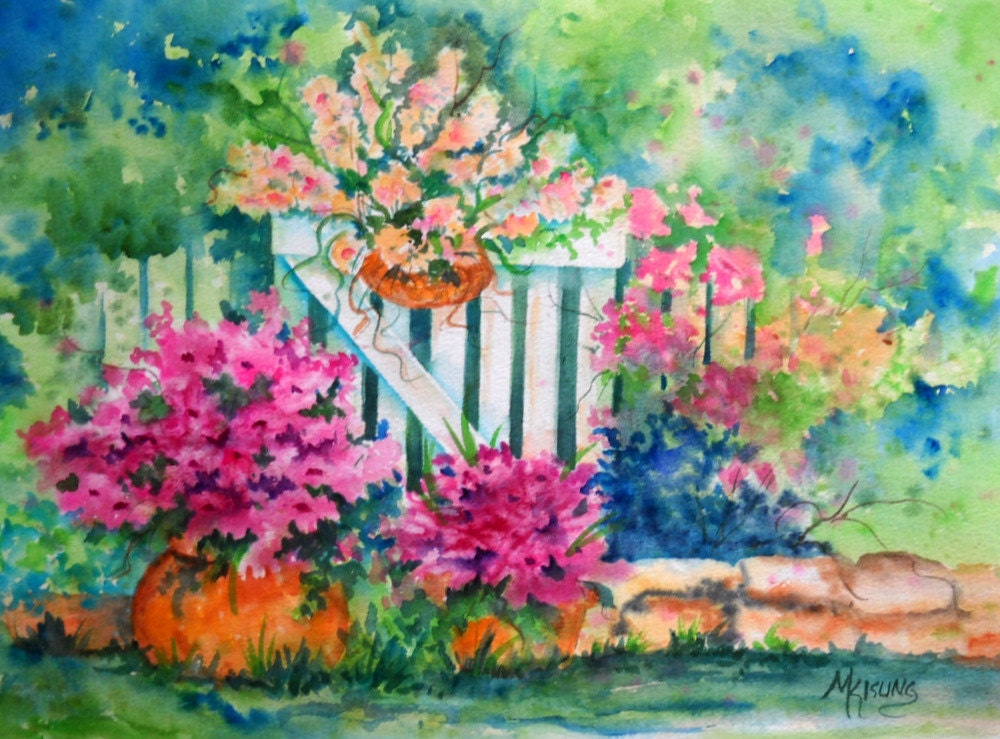 Watercolor Of Garden Flowers And White Picket By