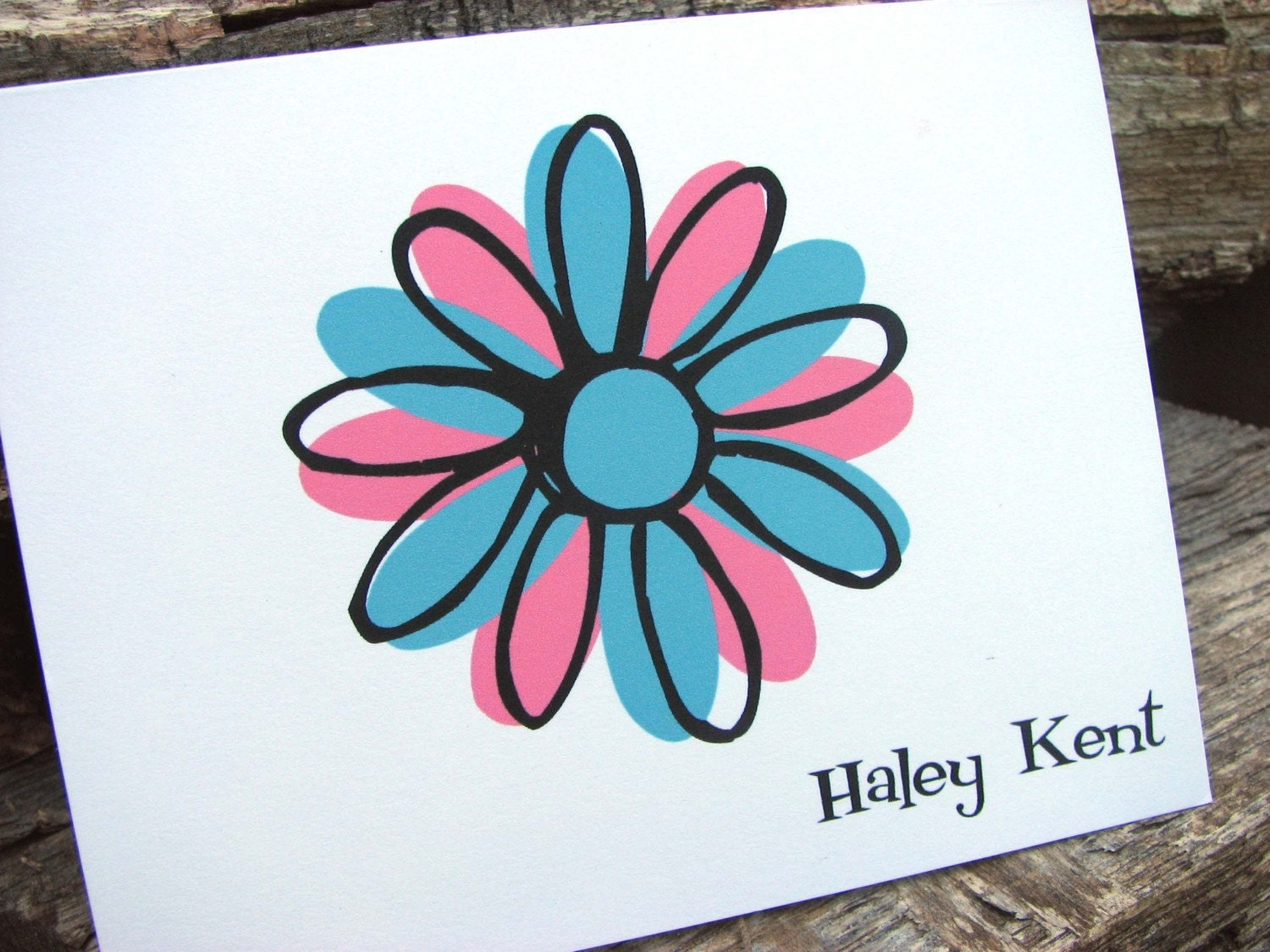 Modern Flower Personalized Note Cards