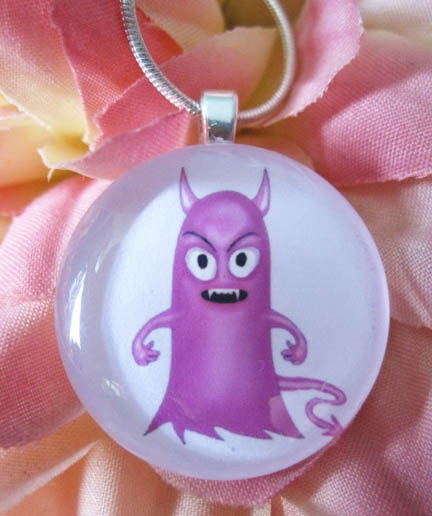Little Hottie Pink and Cute Monster Glass Pendant