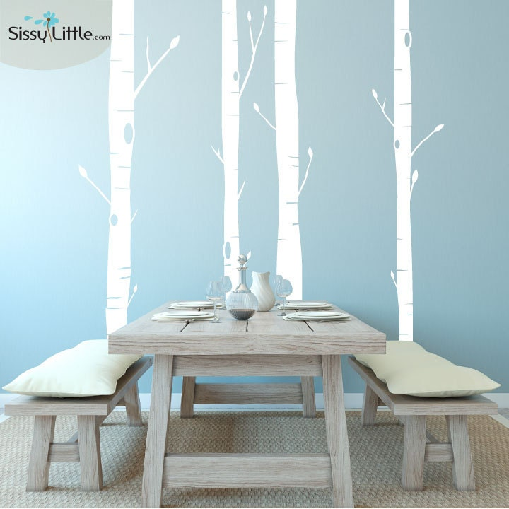 Aspen trees vinyl wall decal by sissylittle on etsy for Aspen tree wall mural