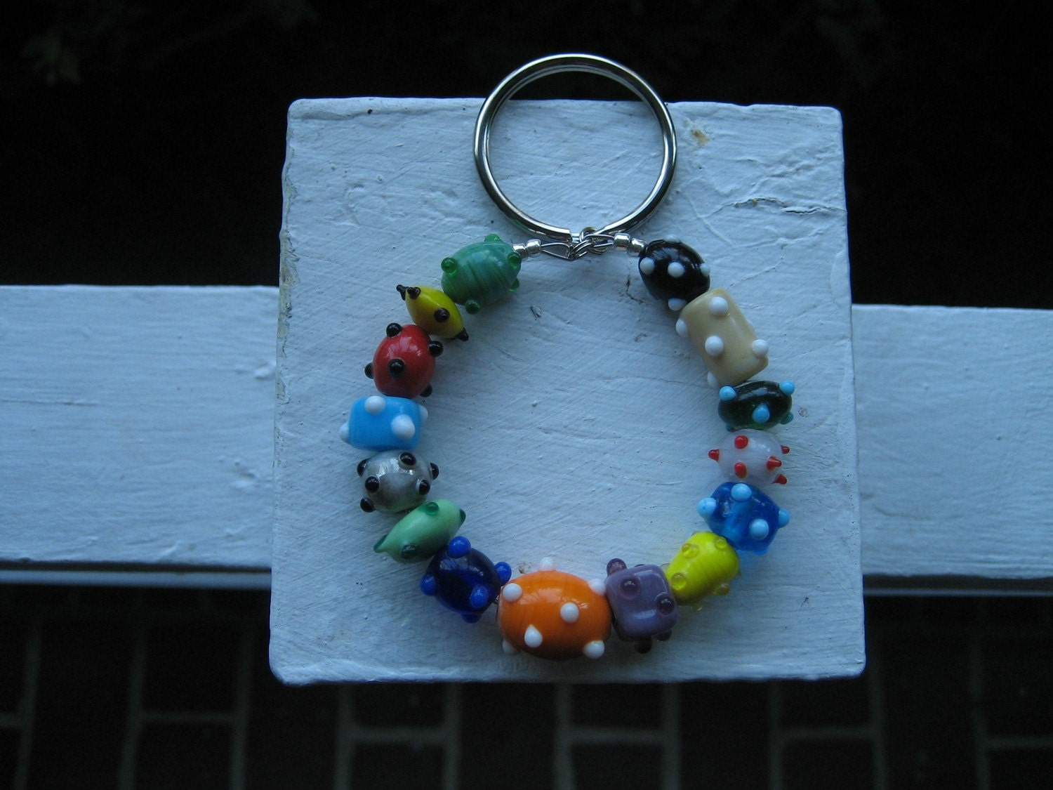 Multicolored Glass Bead Keychain