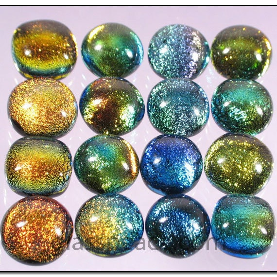 SALE Fused Dichroic Glass Cabochon Jewelry By GlassPeace