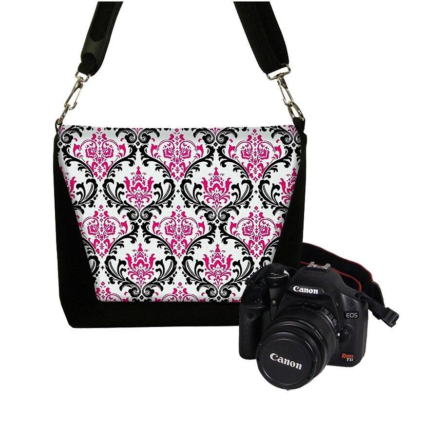 Deluxe DSLR Camera Lens Bag Case zipper pocket more padding - Madison Damask Pink