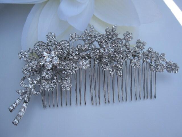 Bridal floral  rhinestone hair comb---head piece,wedding gift, bridsmaid,headband,Hair Accessories