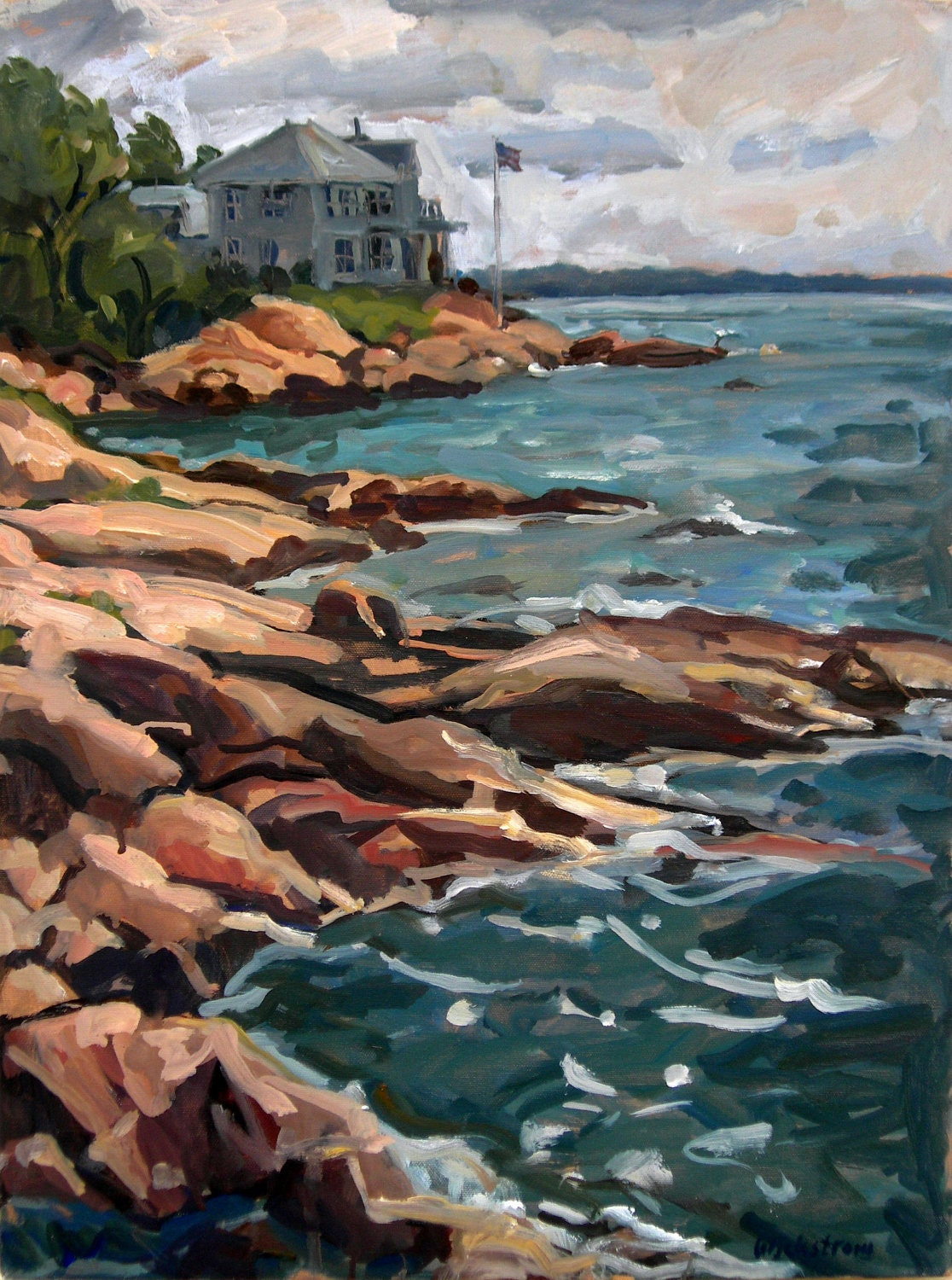 Original Oil Painting Landscape, From Rockport, Cape Ann. Large Plein Air Impressionist Seascape on Canvas