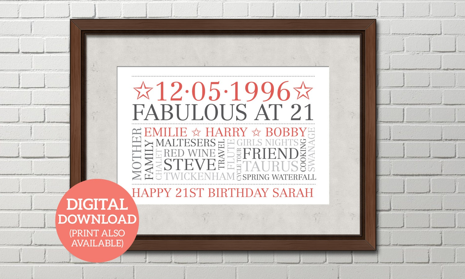 Personalised Word Art Word Cloud DOWNLOAD Poster Unique gift Special 21st Birthday BD211