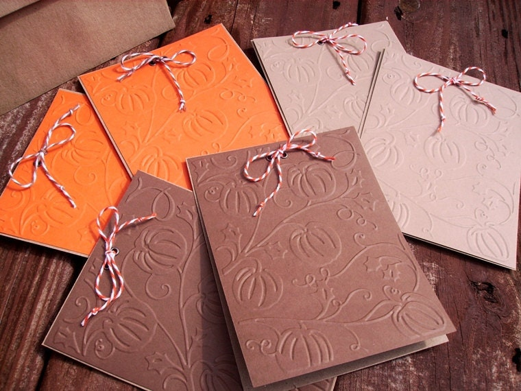 Pumpkin Embossed Cards, Flat Kraft Invitations, Place Cards, or Menu Cards