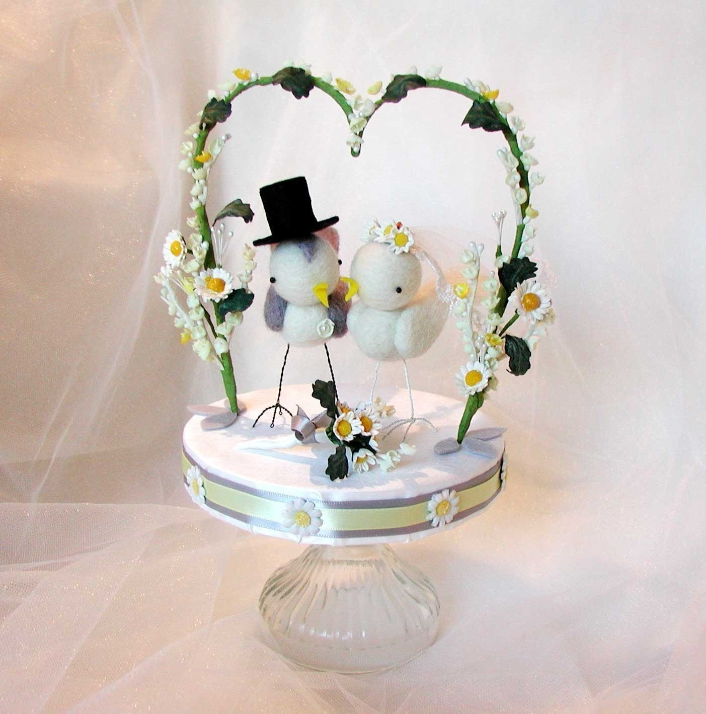 Custom Order Love Birds Wedding Cake Topper By Rainsend On Etsy