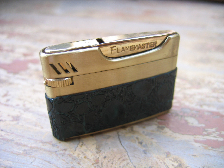 Vintage 1960-1970 Forest Green Leather Flamex Flamemaster Butane Lighter