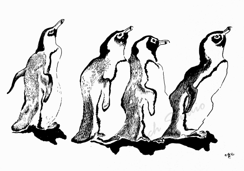 Ice Skating -  original ink drawing print 8x10 cute penguins friends