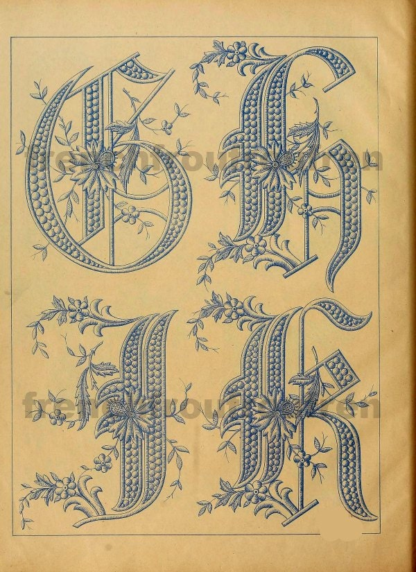 Antique French Victorian Alphabet Letters G H I By
