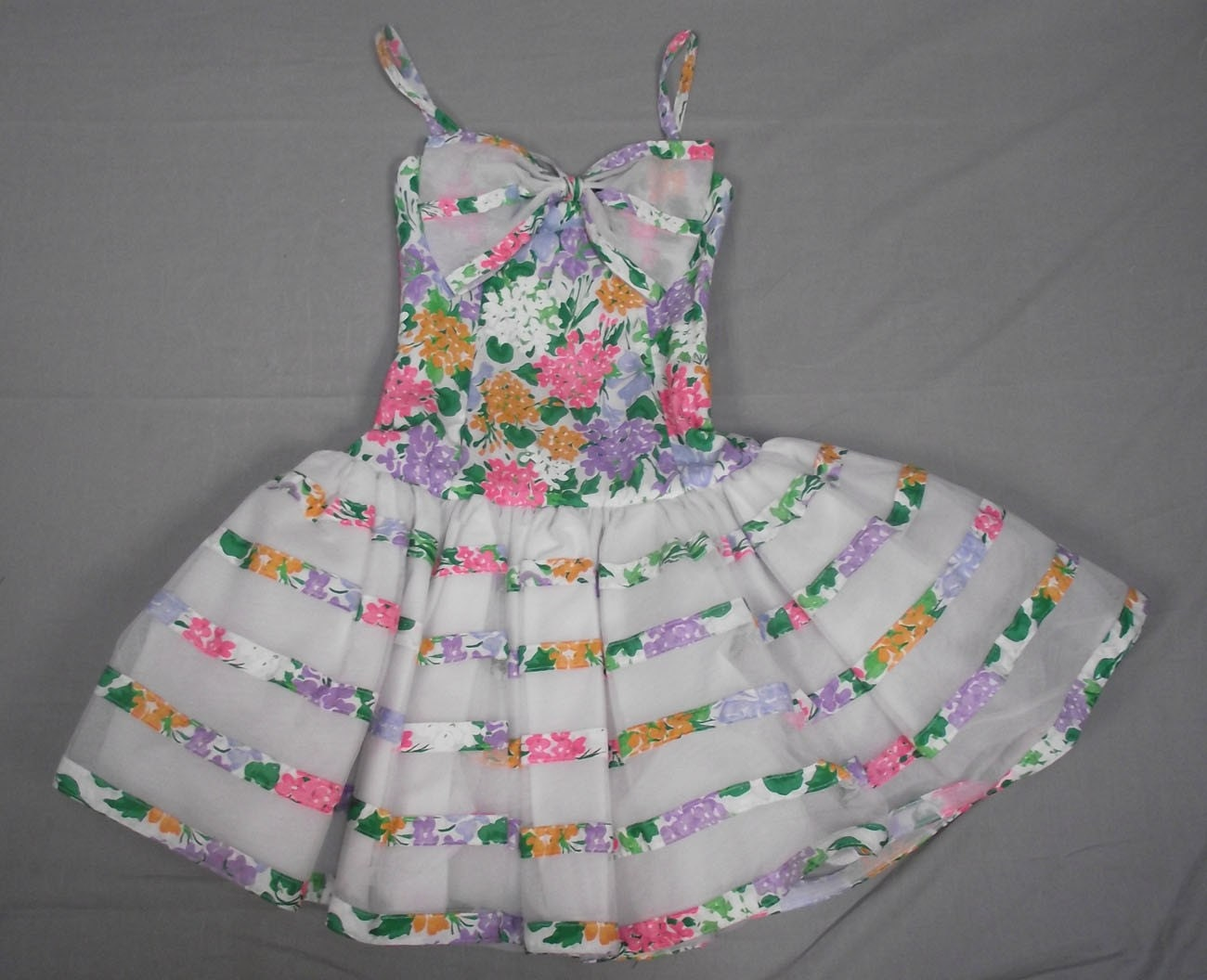RIDICULOUS SALE Vintage 80s Pouf Skirt Dress with a Bouquet of Spring Flowers and an Oversize Bow Size Small to Medium