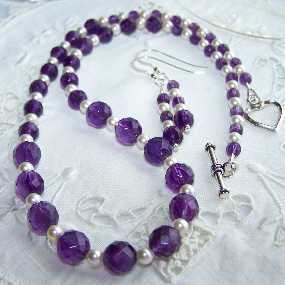PROSPER Faceted Amethyst and Swarovski Pearls Necklace and Earrings Sterling Silver Set