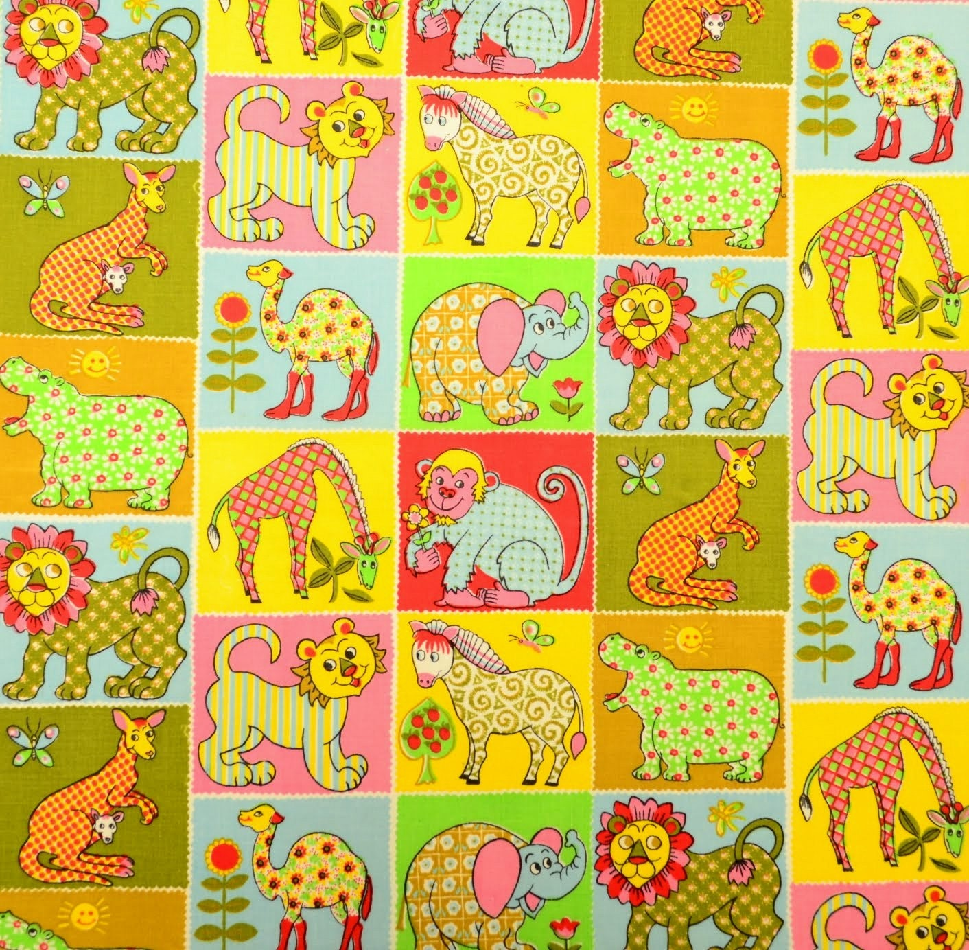 Vintage childrens jungle theme fabric fq by patternlike on for Childrens jungle print fabric