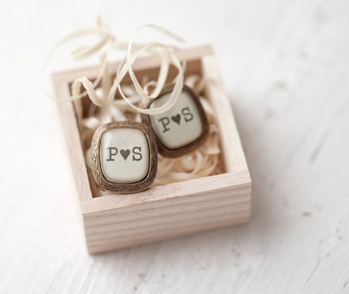 Personalized Initials cufflinks - Rustic wedding accessory (C020)