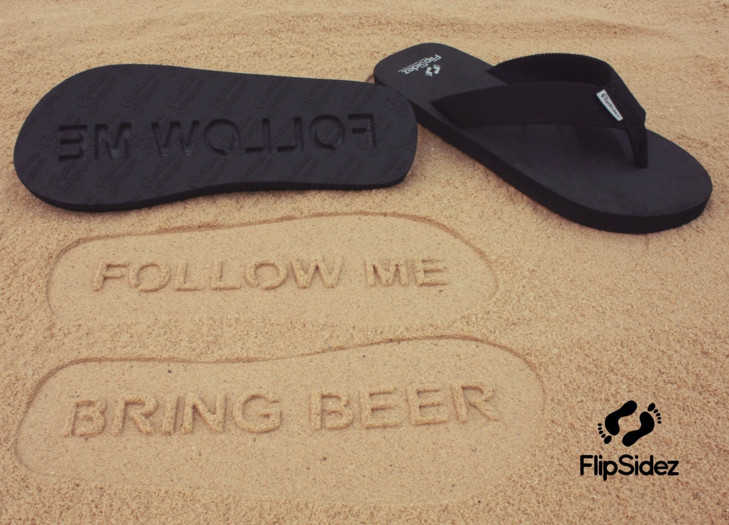 Follow Me Bring Beer Sand Imprint Sandals :) - SandImprintSandals