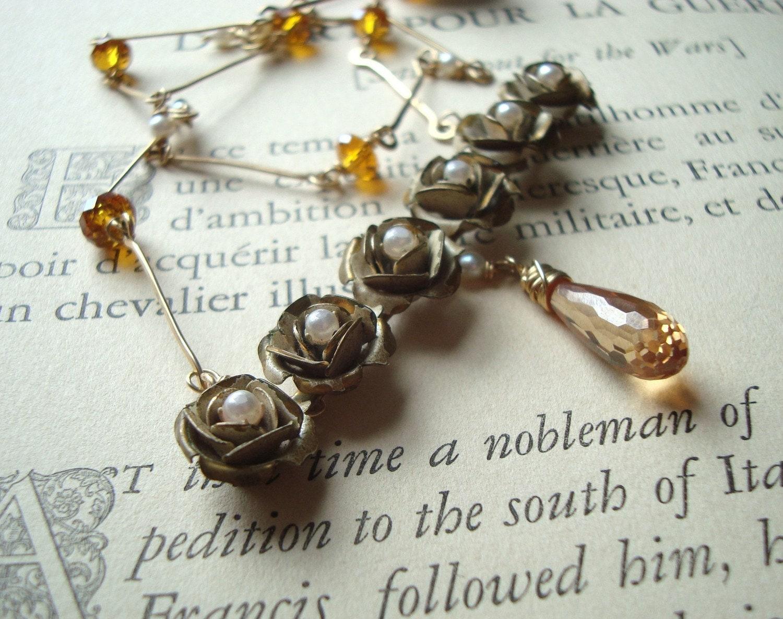 Vintage Floral Pendant, Cubic Zirconia, Citrine, Pearl, Gold Necklace - Flora's Flowers
