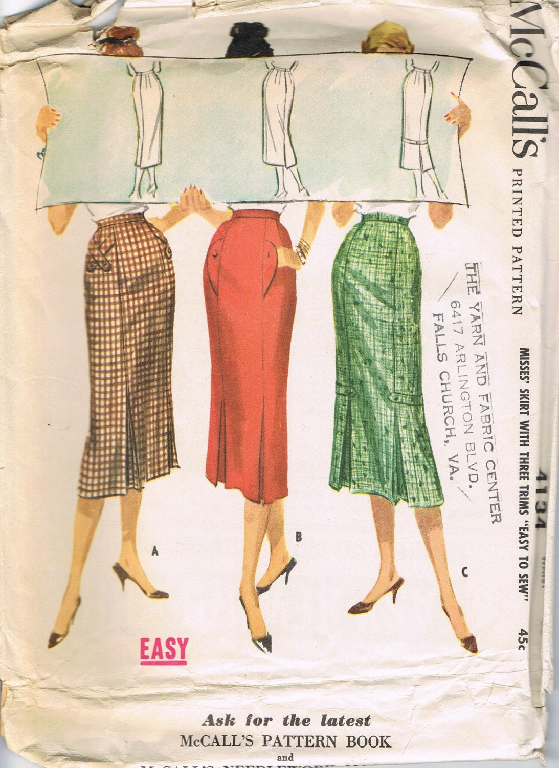 vintage 1957 mccall s kick pleat skirt pattern by thisbluebird