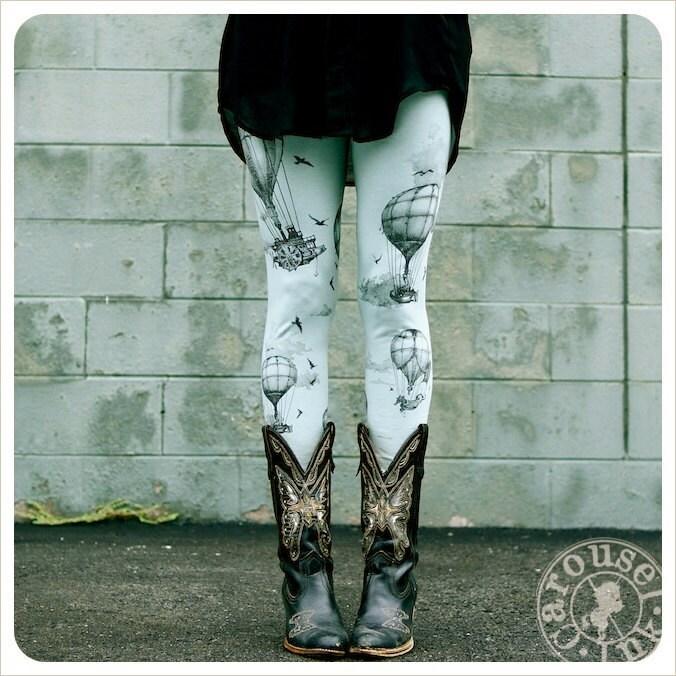 Hot Air Balloon Leggings - Womens Legging - SAGE - Tights - OZ - xLARGE plus size legging - Carouselink
