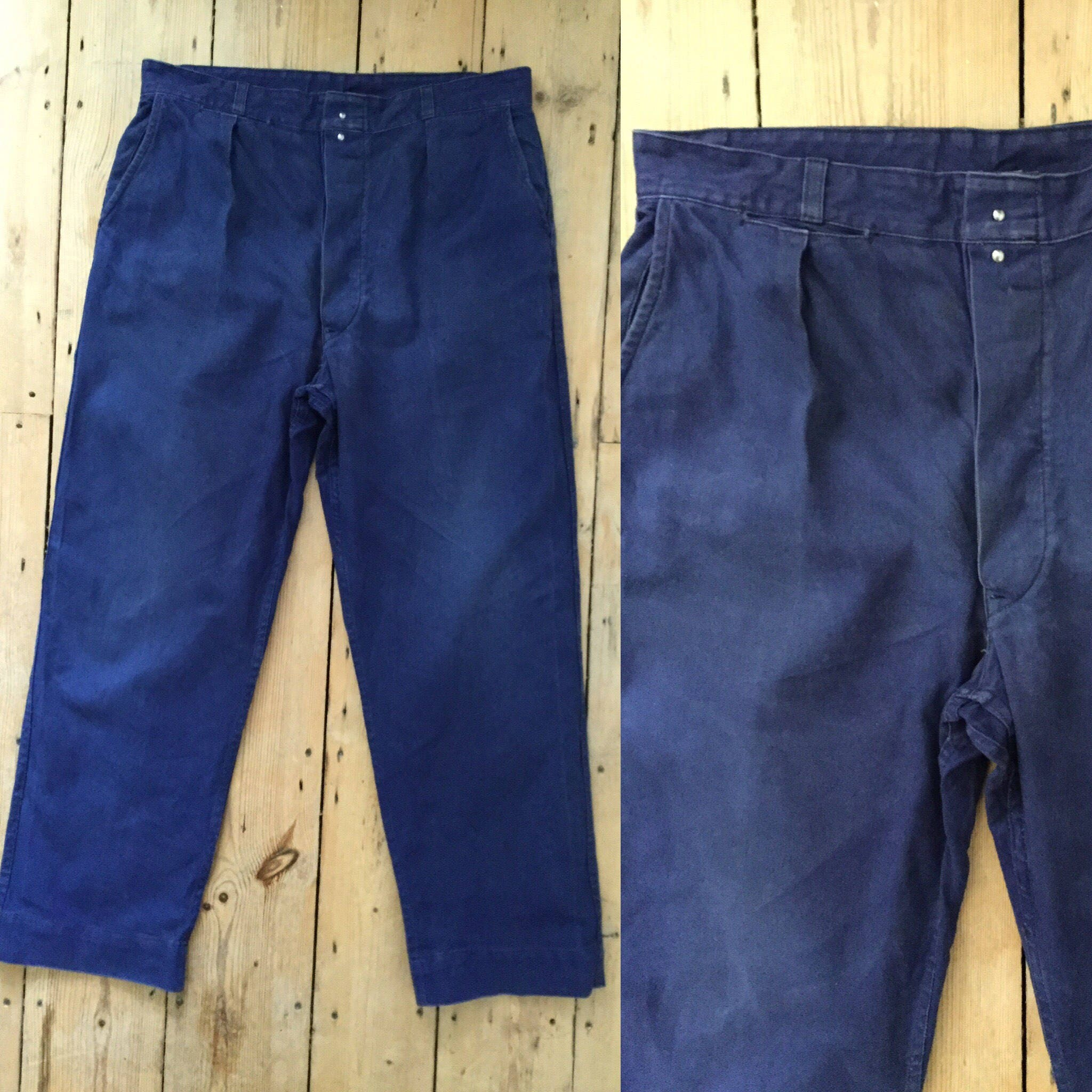 Vintage French Indigo Blue Workwear Trousers  Sanforized  36 waist