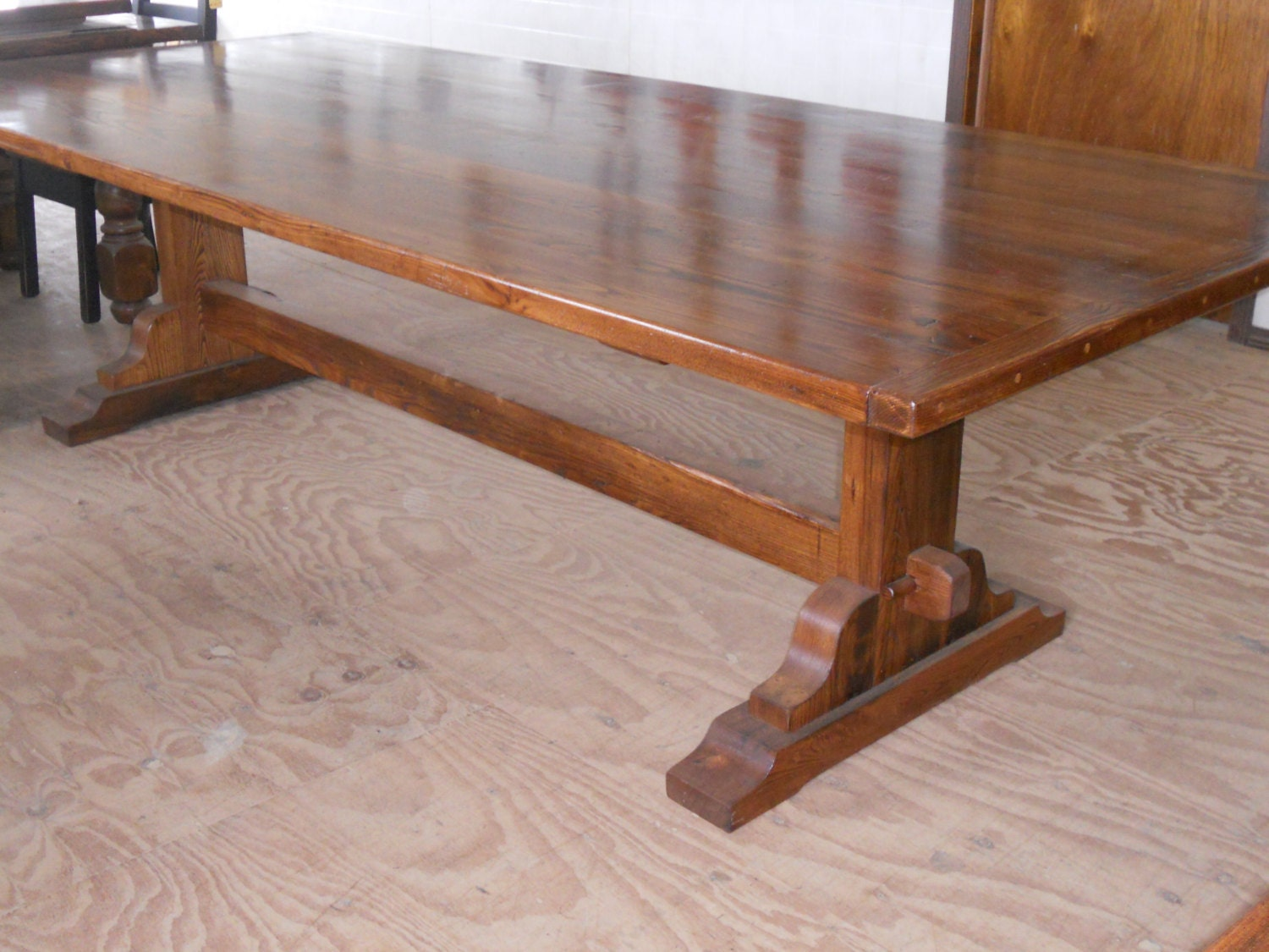 Reclaimed barn wood furniture chestnut trestle by valentinodesigns - Kitchen table reclaimed wood ...