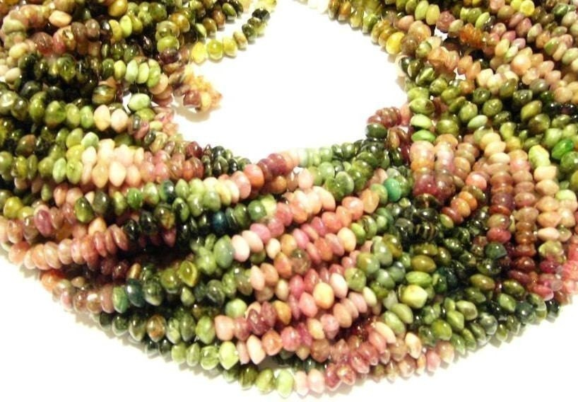 Watermelon Tourmaline gemstone button beads full strand